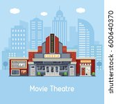 modern cinema building facade... | Shutterstock .eps vector #600640370