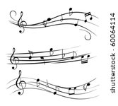 Stock vector music notes on staves 60064114