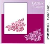 laser cut wedding invitation or ... | Shutterstock .eps vector #600644204