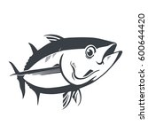 tuna fish symbol on white... | Shutterstock .eps vector #600644420