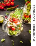 light dietary healthy lunch  a...   Shutterstock . vector #600648338