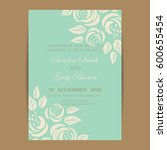 wedding invitation with vintage ... | Shutterstock .eps vector #600655454