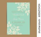 wedding invitation with vintage ... | Shutterstock .eps vector #600655454