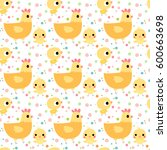 cute seamless pattern with... | Shutterstock .eps vector #600663698
