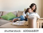 mother and daughter relaxing... | Shutterstock . vector #600666809