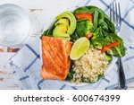 buddha bowl   balanced meal | Shutterstock . vector #600674399