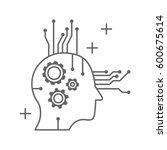 artificial intelligence head... | Shutterstock .eps vector #600675614