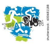 triathlon race icons. stylized... | Shutterstock .eps vector #600681188