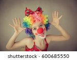 funny kid clown. child playing... | Shutterstock . vector #600685550