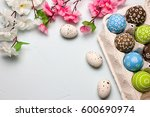 painted easter eggs and... | Shutterstock . vector #600690974