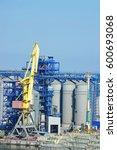 cargo crane and grain dryer in...   Shutterstock . vector #600693068