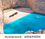 view on shipwreck beach in... | Shutterstock . vector #600694004