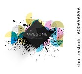 memphis geometric background...   Shutterstock .eps vector #600696896