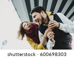 bearded man and woman have fun... | Shutterstock . vector #600698303