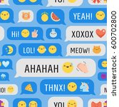 messages with cute emoji and... | Shutterstock .eps vector #600702800