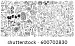hand drawn food elements. set... | Shutterstock .eps vector #600702830