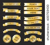 gold vintage labels  badges and ... | Shutterstock .eps vector #600703430