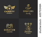 donations and charity gold logo ... | Shutterstock .eps vector #600703484