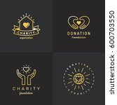 donations and charity gold logo ... | Shutterstock .eps vector #600703550