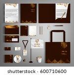brown corporate identity... | Shutterstock .eps vector #600710600