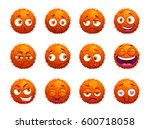 funny orange round characters... | Shutterstock .eps vector #600718058