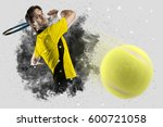 tennis player with a yellow... | Shutterstock . vector #600721058