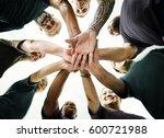 group of people hands stack... | Shutterstock . vector #600721988