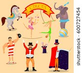 circus vintage pictograms set... | Shutterstock .eps vector #600727454