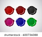 coloured wax seal  signet or... | Shutterstock .eps vector #600736088