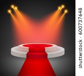 red carpet with round podium.... | Shutterstock .eps vector #600737648