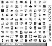 100 website icons set in simple ... | Shutterstock .eps vector #600737804