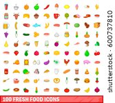 100 fresh food icons set in... | Shutterstock .eps vector #600737810