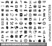 100 auto service icons set in... | Shutterstock .eps vector #600737858