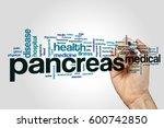 pancreas word cloud on grey... | Shutterstock . vector #600742850