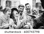 group of cheerful friends... | Shutterstock . vector #600743798