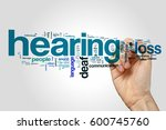 hearing loss word cloud on grey ... | Shutterstock . vector #600745760