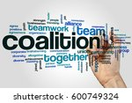 coalition word cloud concept on ... | Shutterstock . vector #600749324