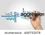 Small photo of Aggression word cloud concept on grey background.