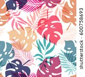exotic leaves and flowers on... | Shutterstock .eps vector #600758693
