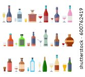 alcohol bottles beverages with... | Shutterstock . vector #600762419