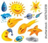 star  sun  cloud  water  planet ... | Shutterstock .eps vector #600763358