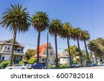 old houses and palm trees on a... | Shutterstock . vector #600782018