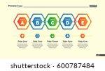 five hexagons diagram slide... | Shutterstock .eps vector #600787484