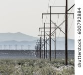 power line in death valley | Shutterstock . vector #600792884