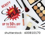 shopping concept  makeup... | Shutterstock . vector #600810170