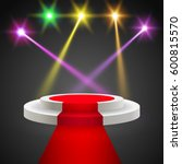 red carpet with round podium.... | Shutterstock .eps vector #600815570
