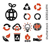 recycle icon set | Shutterstock .eps vector #600816494