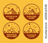 linear mountain badge set.... | Shutterstock .eps vector #600816548