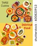 world cuisine popular dinner... | Shutterstock .eps vector #600820913