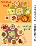 soup  salad and meat dishes...   Shutterstock .eps vector #600821819